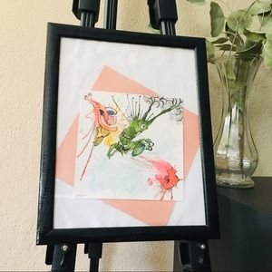 LP Original Framed Watercolor Fun Weird Creatures